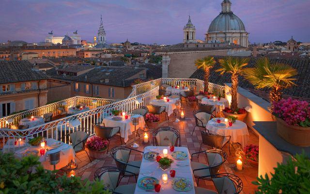 Biohotel Raphael: Abendstimmung auf der Dachterrasse